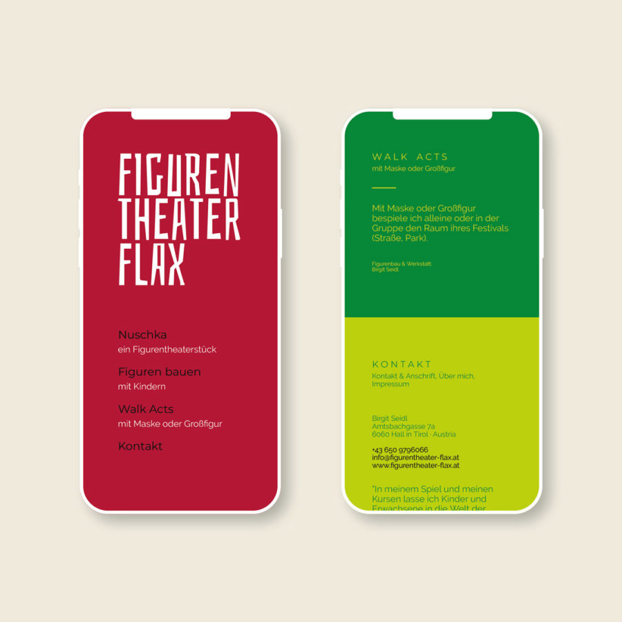 Figurentheater Flax - Website by Agentur Christian Reiter and OKEJ - mobile Ansicht